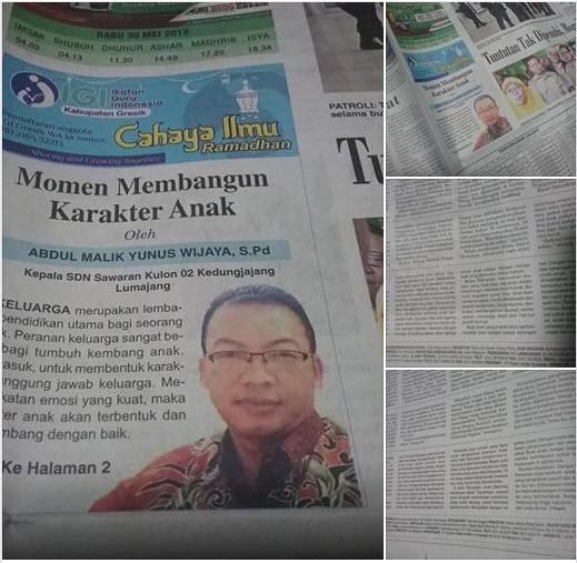 Tulisan Pak Abdul Malik Yunus Wijaya,. S.Pd., Kepala SDN Sawaran Kulon 02 Kedunglajang