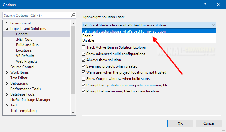 Visual Studio 2017 (version 15.3) can now decide whether to enable Lightweight Solution Load