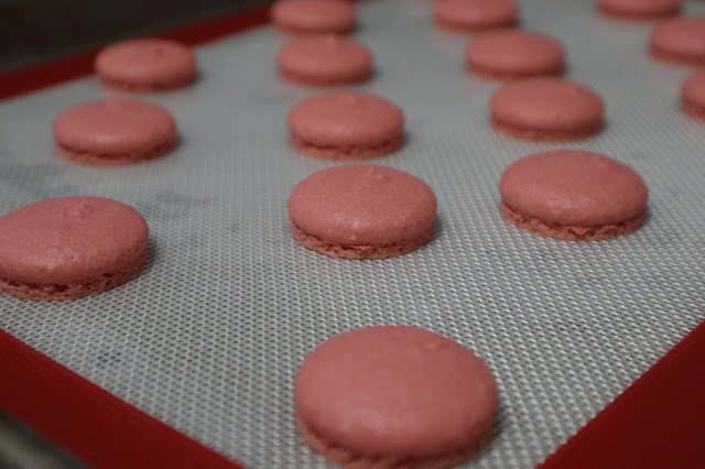 Macaron shells all baked and cooling on the silicon mat on a tray.