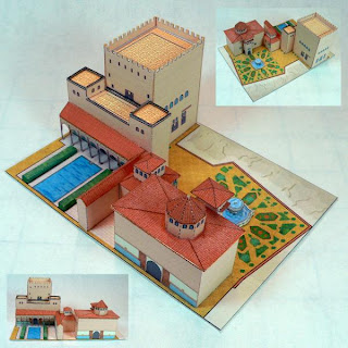 Papercraft building imprimible y recortable de la Alhambra de Granada, en España. Manualidades a Raudales.