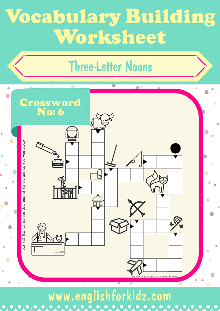 Vocabulary Building Worksheets: Three Letter Noun Crosswords