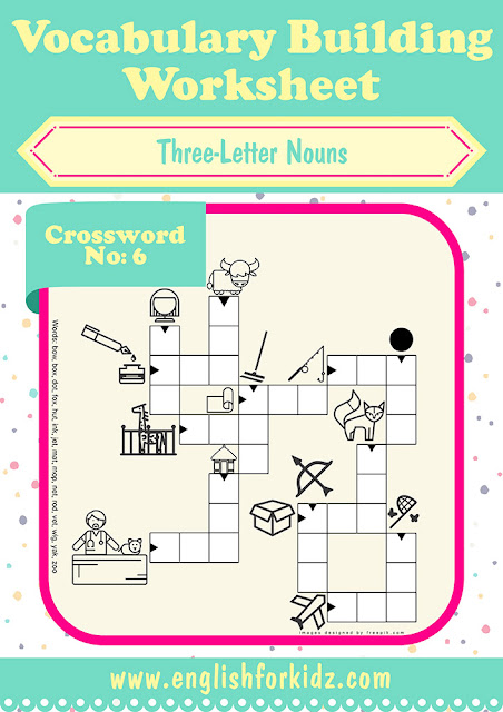 Printable ESL worksheet featuring crossword puzzle for vocabulary building