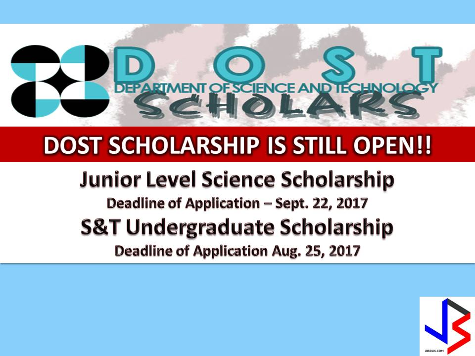 There are many scholarships available for our students in the Philippines. Aside from OWWA who gives a scholarship to beneficiaries of OFWs, there is scholarship also from Commission on Higher Education (CHED) and now, here is a scholarship from Department of Science and Technology (DOST) for undergraduates and college students.  DOST has three types of scholarship under Junior Level Science Scholarship (JLSS). This scholarship is intended for 3rd Year College.