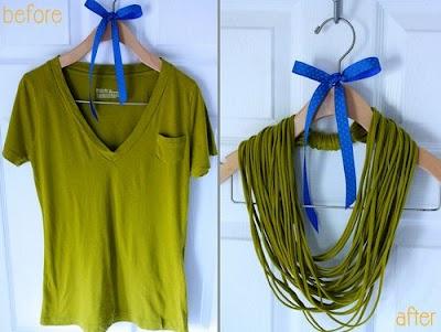 Como hacer Colgantes-Collares o Pañuelos de Camisetas