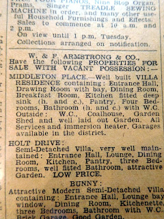 Newspaper advert from 1954 for houses for sale