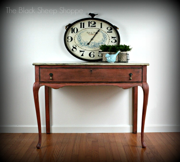 Vintage writing desk painted in Scandinavian Pink
