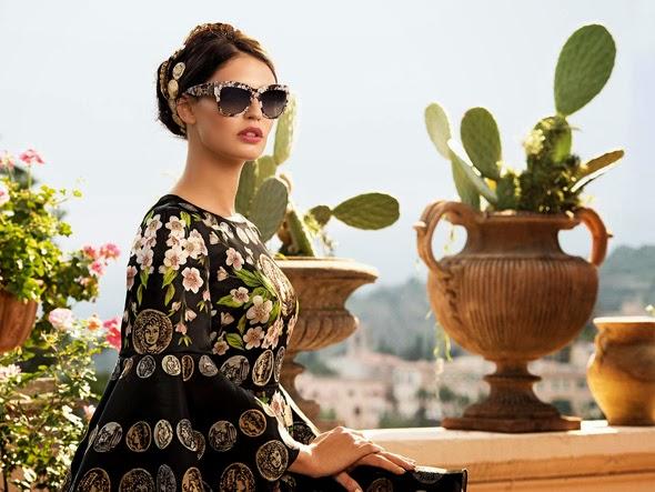 Lunettes de Soleil en Fleurs chez Dolce   Gabbana. Campagne Eté 2014. ee1fb6abb2a5