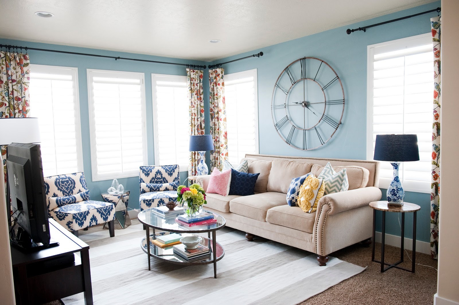 Colorful Living Room Before & After