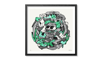 """Mix Mash Up Green"" Screen Print by 123KLAN"