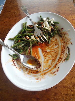 Blistered Green Bean Salad with Smoked Paprika Vinaigrette Feta Cheese and Chopped Almonds. Delicious!