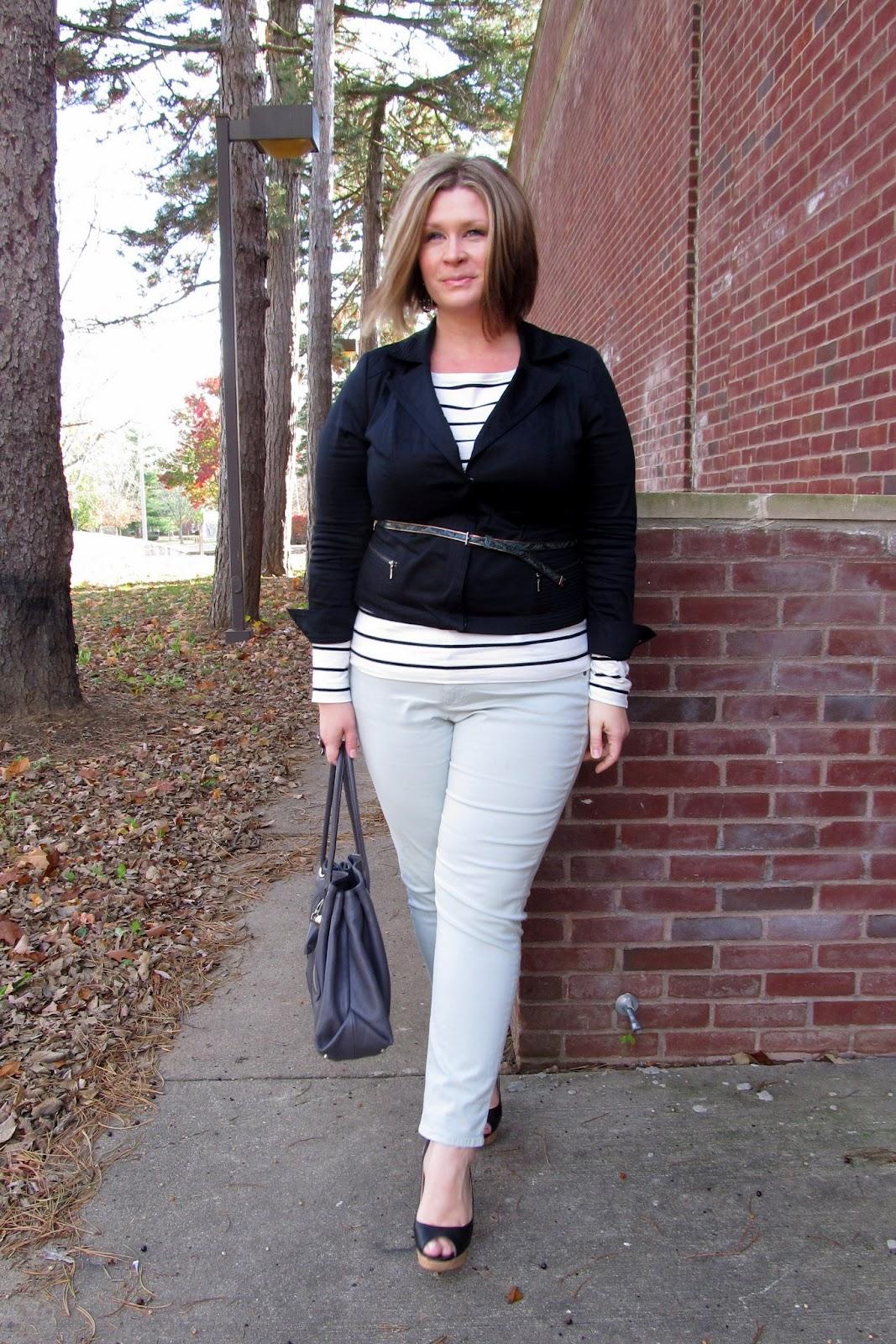 a206c7a3be3 Jacket - Lane Bryant   Striped tee - H M   Ankle pants - Talbots   Belt -  eloquii   Handbag - Furla (via Filene s Basement)   Sandals - Nine West