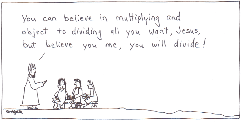 jesus wants to do math his way, but is warned by his teacher. cartoon by robg