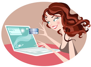 a cartoon of a woman shopping online