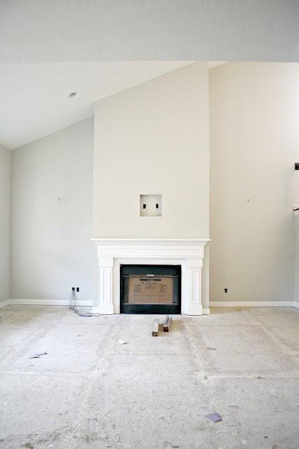 Two story fireplace family room