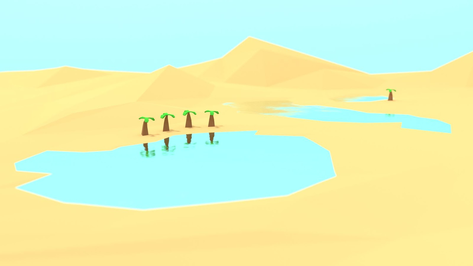 Desert Oasis in a LowPoly Style, with sand, mountains and a water oasis