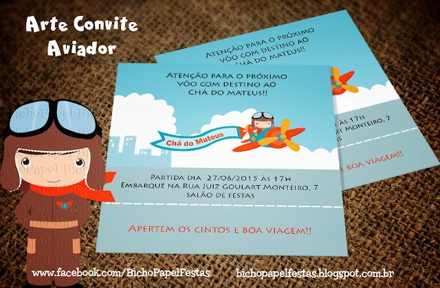 Arte Convite Aviador