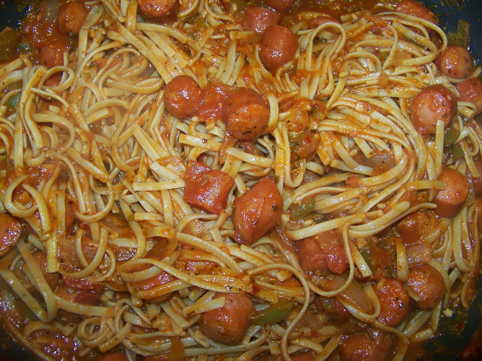 Kitchen Simmer Spaghetti With Hot Dogs One Pot Meal