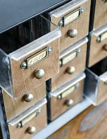 Metal hardware organizer turned faux card catalog