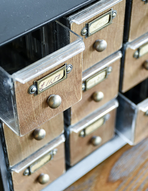 Metal hardware organizer turned faux card catalog