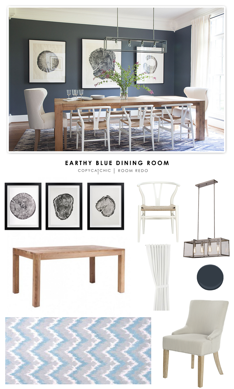 Copy Cat Chic Room Redo | Earthy Blue Dining Room | Copy Cat Chic ...