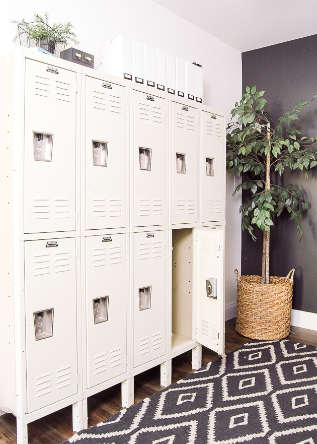 Industrial farmhouse office, vintage lockers, lockers, office