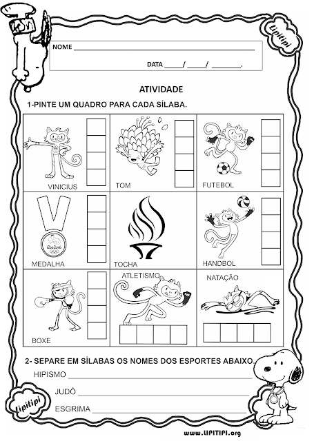 Atividade Primeiro Ciclo Alfabetização Olimpíadas Rio 2016