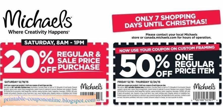Michaels printable coupons dec 2018