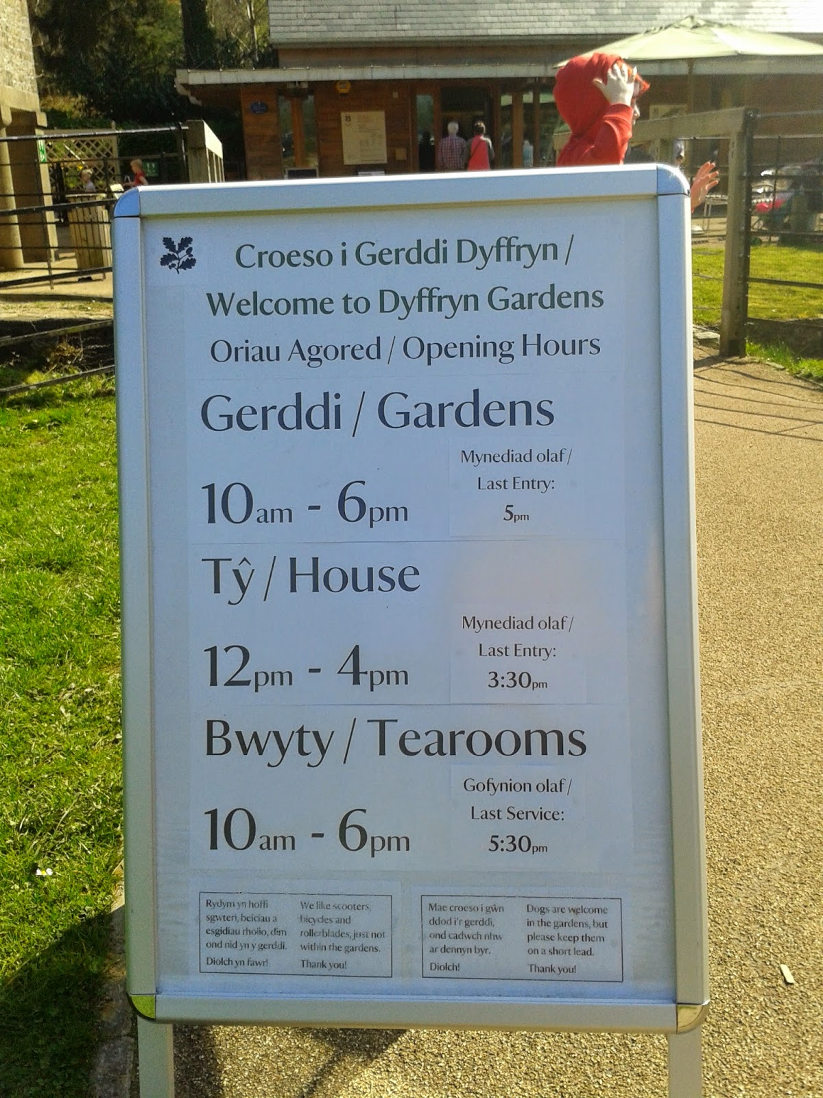 National Trust Dyffryn Gardens Welcome Board & Opening Times