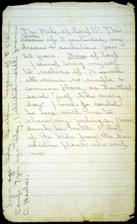Robert Peary, diario, appunti, notes, pensieri, scrittura, pagine, polo nord