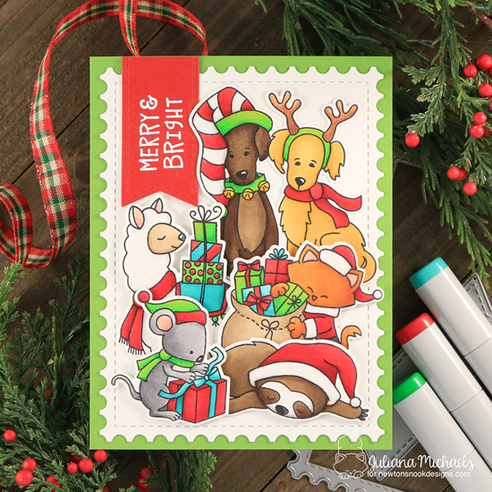 Christmas Card by Juliana Michaels | Llama Delivery, Happy Howl-idays, Santa Paws Newton, Naughty or Mice, and Slothy Christmas Stamp Sets by Newton's Nook Designs #newtonsnook #handmade