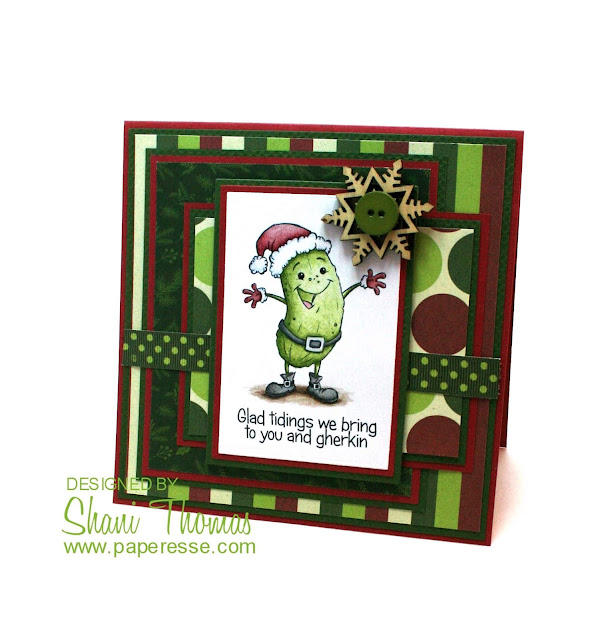 Christmas card, featuring Drawn by Krista's Christmas Pickle digital stamp, by Paperesse.