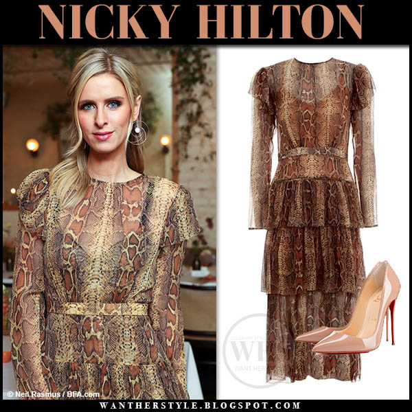 Nicky Hilton in snake print zimmermann dress and patent louboutin so kate pumps celebrity style february 5