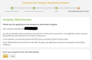 Amazon Associates account successful