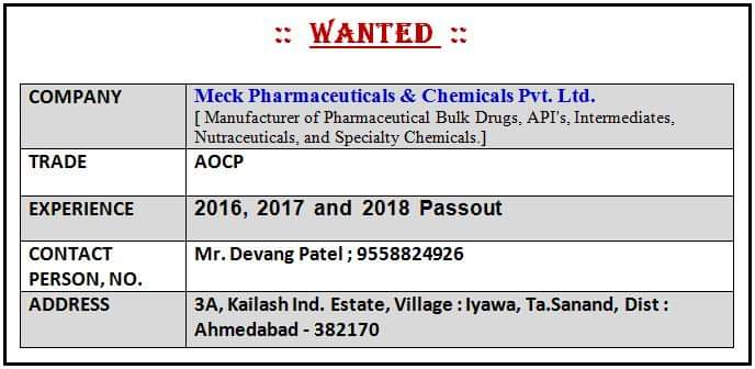 Wanted Meck Pharmaceuticals & Chemicals Pvt.Ltd.For ITI TRADE AOCP