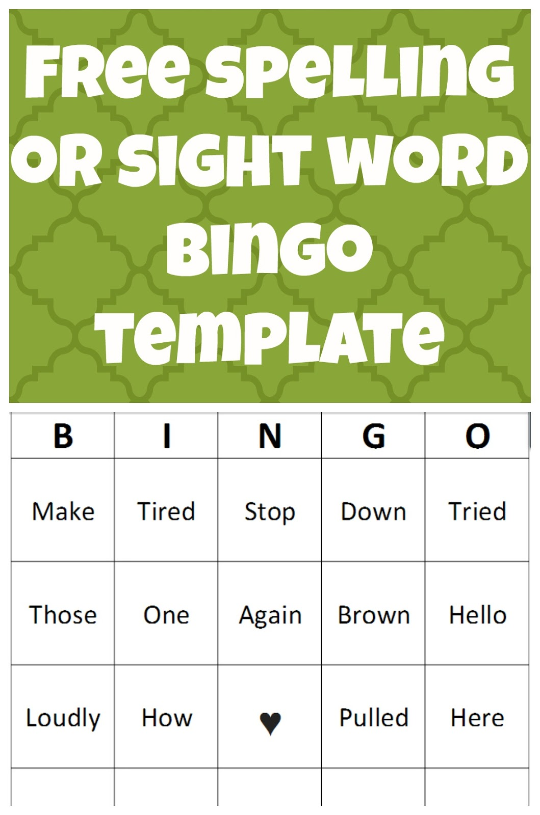 Free Spelling Or Sight Word Bingo Template
