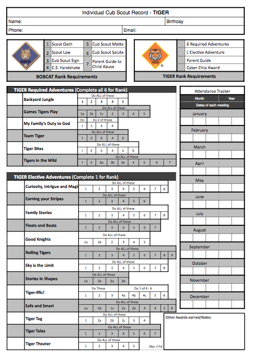 Wolf Scout Tracking Spreadsheet