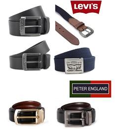 Flat 40% Off on Levi's Men's Leather Casual Belts | Flat 49% Off on Peter England Formal Belts @ Flipkart