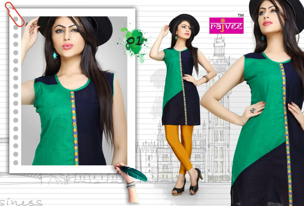 Rajvee colour- New Arrival Designer Cotton Kurti