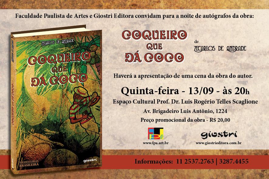 1b1d965581ad2 O lançamento será na quinta-feira (13 09), às 20h, no Espaço Cultural Prof.  Dr. Luis Rogério Telles Scaglione. Terá a apresentação de uma cena da obra  do ...