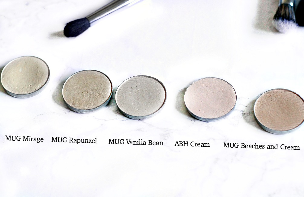 makeup geek mirage, makeup geek rapunzel, makeup geek vanilla bean, makeup geek beaches and cream anastasia beverly hills cream eyeshadow review and swatch