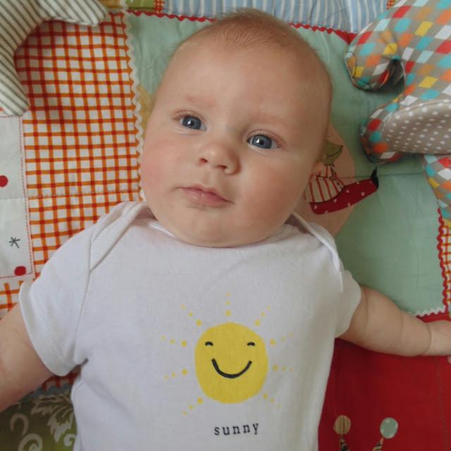 Barney 3 months old, gap sunny vest