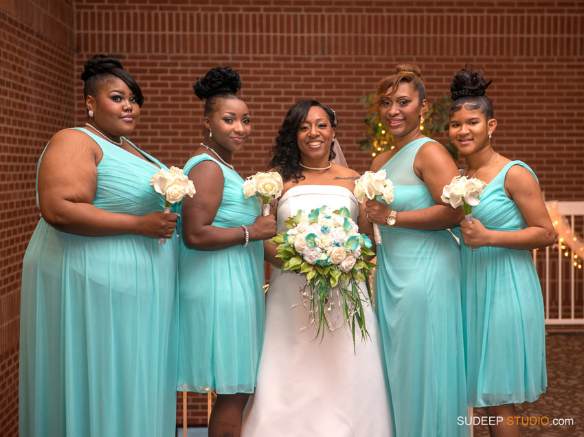 teal bridal party