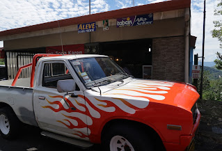 truck with fire paint design