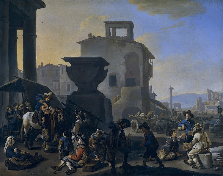 Johannes Lingelbach - Marketplace in an Italian town, with an itinerant toothpuller (c.1651)