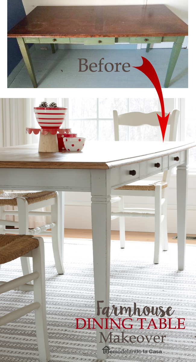 Farmhouse dining table with keeping drawers and tapering legs - A paint makeover