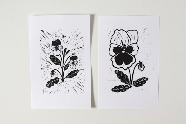 violas, pansies, linocuts, block printing, Anne Butera, My Giant Strawberry