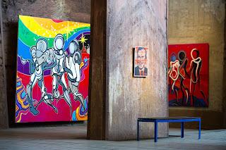"""Die """"UrbanArt Biennale®"""" im Weltkulturerbe Völklinger Hütte Kunstwerke: Shepard Fairey: Nixon's the one (kleines Bild) und Psyckoze: """"Rainbow Warriors"""" und """"22 What's your number"""" Copyright: Weltkulturerbe Völklinger Hütte/Oliver Dietze"""