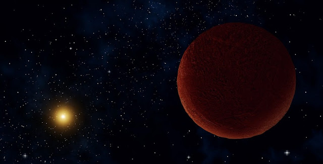 "Artist concept of the planetary body 2014 UZ224, more informally known as DeeDee. ALMA was able to observe the faint millimeter-wavelength ""glow"" emitted by the object, confirming it is roughly 635 kilometers across. At this size, DeeDee should have enough mass to be spherical, the criterion necessary for astronomers to consider it a dwarf planet, though it has yet to receive that official designation. Credit: Alexandra Angelich (NRAO/AUI/NSF)"