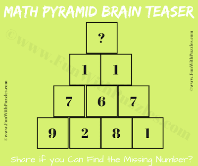 This is the Math Pyramid Picture Puzzle for school going kids in which one has to find the missing number at top of the pyramid