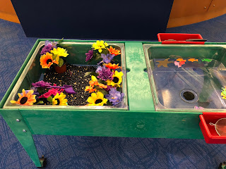 two-sided sensory bin. The left side has black beans, plastic bugs and plastic flowers. The right side has water, foam fish, and small nets